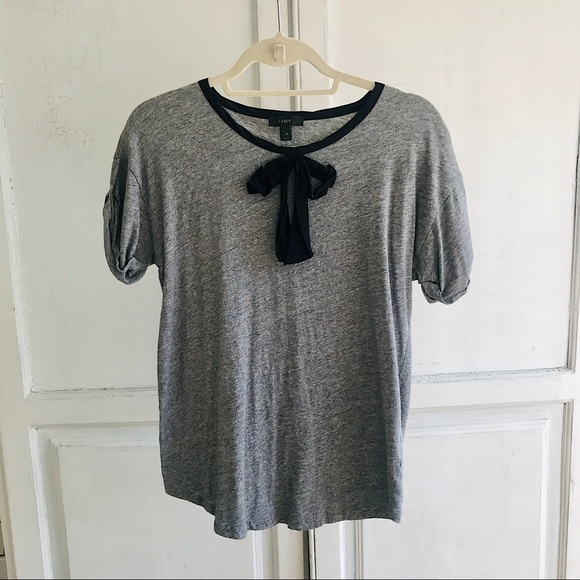 Pussy bow top J Crew tshirt cotton with silk bow